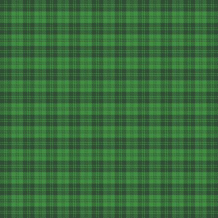 St. Patricks day tartan plaid. Scottish pattern in green and black cage. Scottish cage. Traditional Scottish checkered background. Seamless fabric texture. Vector illustration Ilustrace