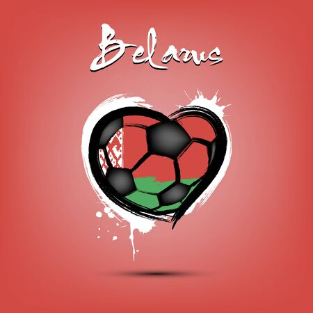 Abstract soccer ball shaped as a heart painted in the colors of the Belarus flag. Flag Belarus in the form of a heart. Grunge style. Vector illustration