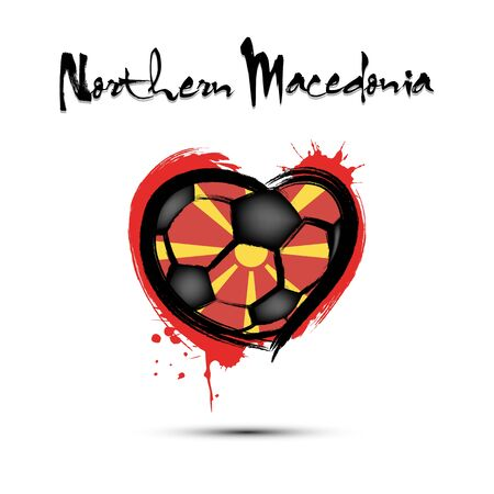 Abstract soccer ball shaped as a heart painted in the colors of the Northern Macedonia flag. Flag Northern Macedonia in the form of a heart. Grunge style. Vector illustration Ilustrace