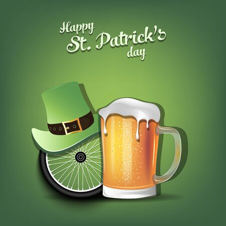 Happy St. Patricks day. Bicycle wheel with St. Patrick hat and mug of beer. Pattern for banner, poster, greeting card, party invitation. Vector illustration Ilustracja