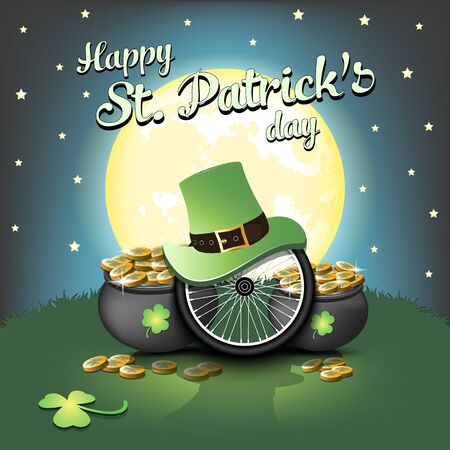 Happy St. Patricks day. Bicycle wheel with St. Patrick hat and pot with gold on the background of the moon. Pattern for banner, poster, greeting card, invitation. Vector illustration