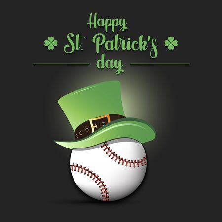 Happy St. Patricks day. Baseball ball in leprechaun hat on an isolated background. Pattern for banner, poster, greeting card, party invitation. Vector illustration