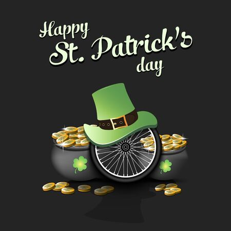 Happy St. Patricks day. Bicycle wheel with St. Patrick hat and pot with gold on an isolated background. Pattern for banner, poster, greeting card, invitation. Vector illustration