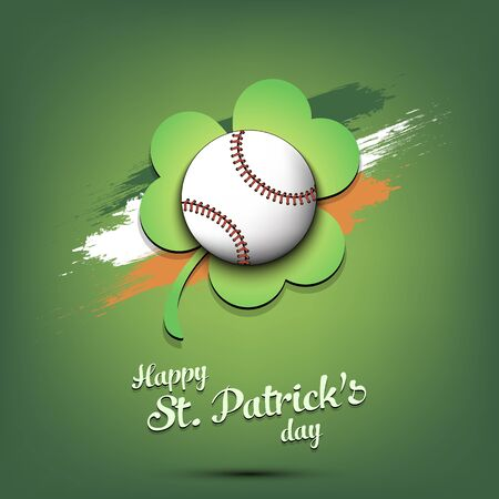 Happy St. Patricks day. Baseball ball and clover against the background of the Irish flag. Pattern for banner, poster, greeting card, party invitation. Vector illustration