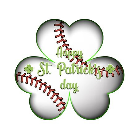 Happy St. Patricks day. Baseball ball in clover on an isolated background. Pattern for banner, poster, greeting card, party invitation. Vector illustration