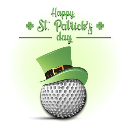 Happy St. Patricks day. Golf ball in leprechaun hat on an isolated background. Pattern for banner, poster, greeting card, party invitation. Vector illustration
