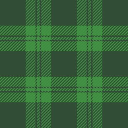 St. Patricks day tartan plaid. Scottish pattern in green and black cage. Scottish cage. Traditional Scottish checkered background. Seamless fabric texture. Vector illustration Ilustracja