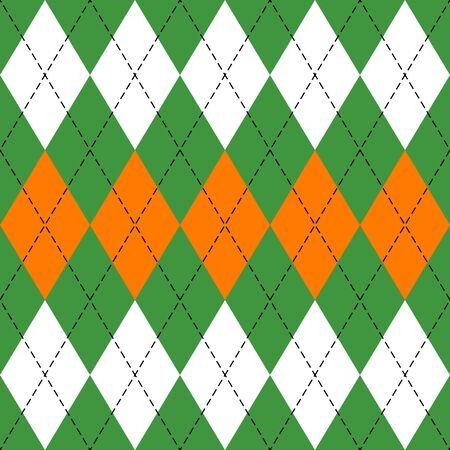 St. Patricks day Argyle plaid. Scottish pattern in green, orange and white rhombuses. Scottish cage. Traditional Scottish background of diamonds. Seamless fabric texture. Vector illustration Ilustracja