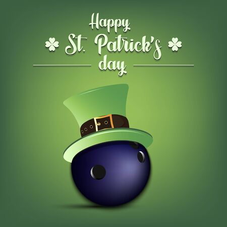 Happy St. Patrick's day. Bowling ball in leprechaun hat on an isolated background. Pattern for banner, poster, greeting card, party invitation. Vector illustration Stock Illustratie