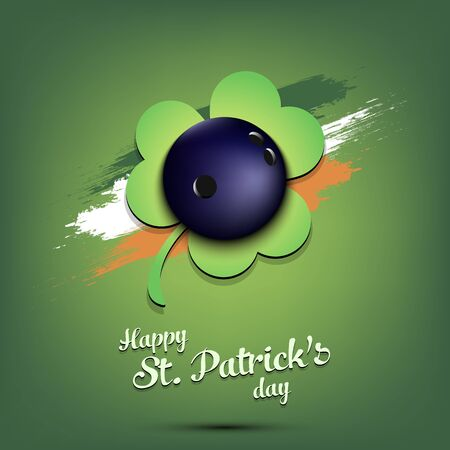 Happy St. Patrick's day. Bowling ball and clover against the background of the Irish flag. Pattern for banner, poster, greeting card, party invitation. Vector illustration Vetores
