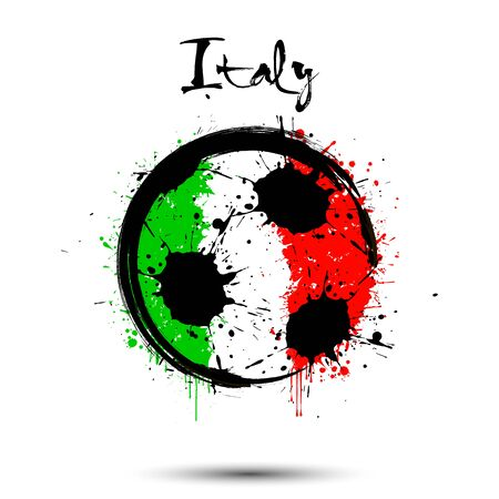 Abstract soccer ball painted in the colors of the Italy flag. Flag of Italy in the form of a soccer ball made of blots on an isolated background. Design pattern in grunge style. Vector illustration Illustration