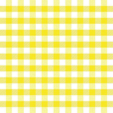 Tela escocesa de tartán de Pascua. Patrón escocés en jaula amarilla, violeta y verde. Jaula escocesa. Fondo a cuadros tradicional escocés. Textura de tela sin costuras. Ilustración vectorial