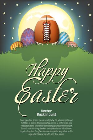 Happy Easter. Football ball in the form of egg and easter painted eggs on a hill with grass on the background of the moon and stars. Pattern for poster, greeting card, invitation. Vector illustration