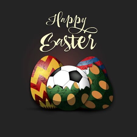 Happy Easter. Easter design template. Easter eggs and soccer ball hatched from an egg on an isolated background. Pattern for greeting card, banner, poster, invitation. Vector illustration