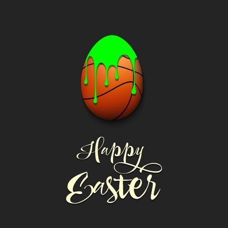 Happy Easter. Easter egg decorated in the form of a basketball ball with a blot of paint on an isolated background. Pattern for greeting card, banner, poster, invitation. Vector illustration