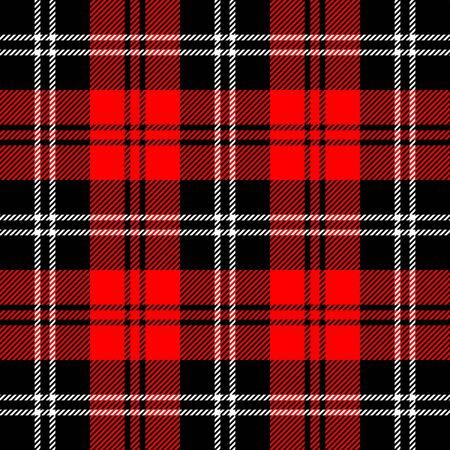 Tartan kariert. Schottisches Muster im schwarzen, roten und weißen Käfig. Schottischer Käfig. Traditioneller schottischer karierter Hintergrund. Nahtlose Stoffbeschaffenheit. Vektor-Illustration