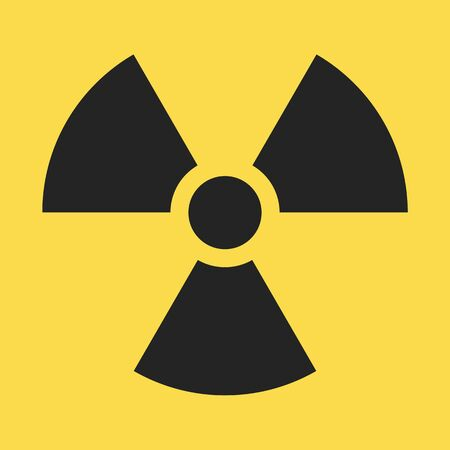Radiaction symbol. Caution radioactive danger sign. Radiaction icon design template on isolated background. Radioactive contamination. Nuclear alert. Radiaction warning. Vector illustration
