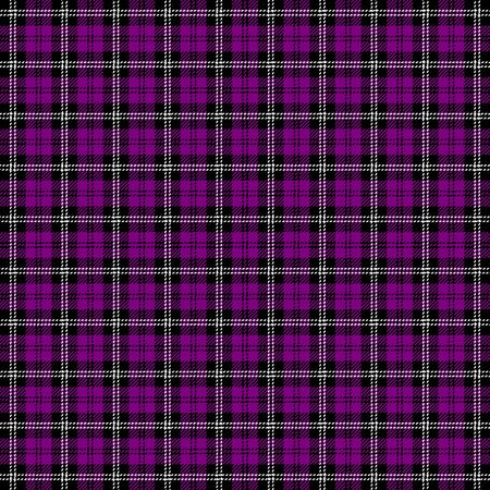 Tartan plaid. Scottish pattern in black, purple and white cage. Scottish cage. Traditional Scottish checkered background. Seamless fabric texture. Vector illustration Иллюстрация