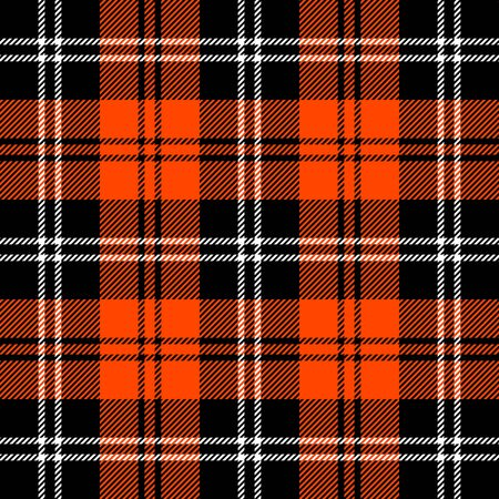 Tartan plaid. Scottish pattern in black, orange and white cage. Scottish cage. Traditional Scottish checkered background. Seamless fabric texture. Vector illustration