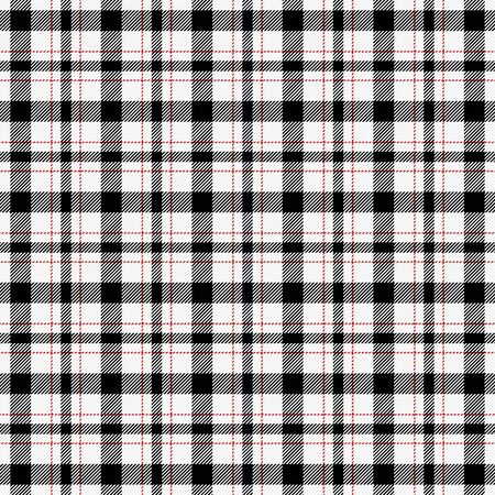 Tartan plaid. Scottish pattern in black, red and white cage. Scottish cage. Traditional Scottish checkered background. Seamless fabric texture. Vector illustration Иллюстрация