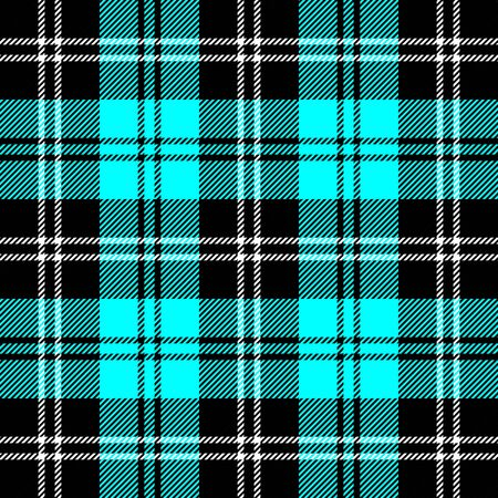 Tartan plaid. Scottish pattern in black, aqua and white cage. Scottish cage. Traditional Scottish checkered background. Seamless fabric texture. Vector illustration