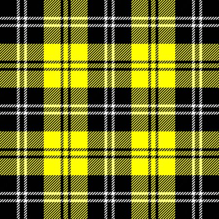 Tartan plaid. Scottish pattern in black, yellow and white cage. Scottish cage. Traditional Scottish checkered background. Seamless fabric texture. Vector illustration