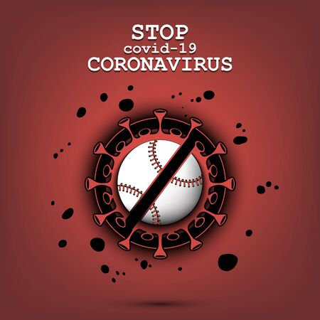 Coronavirus sign and baseball ball with a crossed line. Stop covid-19 outbreak. Caution risk disease 2019-nCoV. Cancellation of sports tournaments. Pattern design. Vector illustration