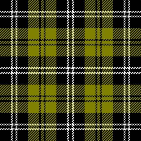 Tartan plaid. Scottish pattern in black, olive and white cage. Scottish cage. Traditional Scottish checkered background. Seamless fabric texture. Vector illustration