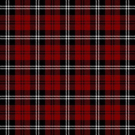 Tartan plaid. Scottish pattern in black, maroon and white cage. Scottish cage. Traditional Scottish checkered background. Seamless fabric texture. Vector illustration
