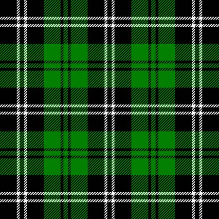 Tartan plaid. Scottish pattern in black, green and white cage. Scottish cage. Traditional Scottish checkered background. Seamless fabric texture. Vector illustration
