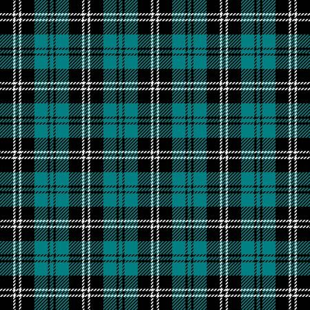 Tartan plaid. Scottish pattern in black, teal and white cage. Scottish cage. Traditional Scottish checkered background. Seamless fabric texture. Vector illustration