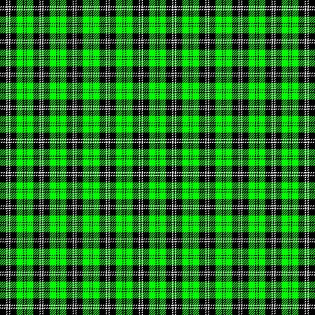 Tartan plaid. Scottish pattern in black, lime and white cage. Scottish cage. Traditional Scottish checkered background. Seamless fabric texture. Vector illustration Иллюстрация