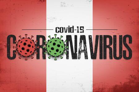 Flag of Peru with coronavirus covid-19. Virus cells coronavirus bacteriums against background of the flag of Peru. Coronavirus outbreak in Peru. Mode quarantine. Vector illustration