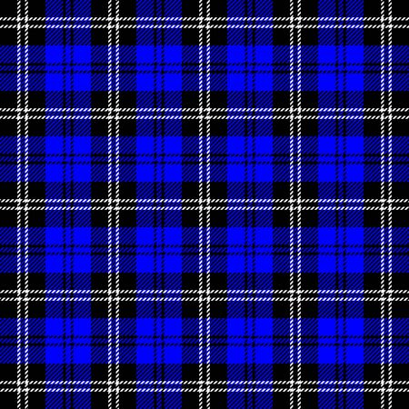 Tartan plaid. Scottish pattern in black, blue and white cage. Scottish cage. Traditional Scottish checkered background. Seamless fabric texture. Vector illustration