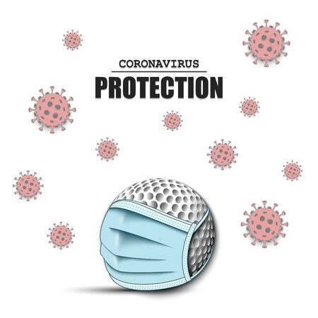 Golf ball with a protection mask and cells coronavirus bacteriums. Stop covid-19 outbreak. Caution risk disease 2019-nCoV. Cancellation of sports tournaments. Pattern design. Vector illustration