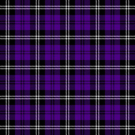 Tartan plaid. Scottish pattern in black, indigo and white cage. Scottish cage. Traditional Scottish checkered background. Seamless fabric texture. Vector illustration