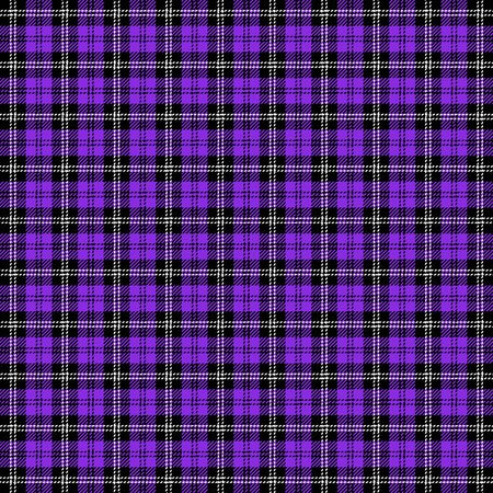 Tartan plaid. Scottish pattern in black, blueviolet and white cage. Scottish cage. Traditional Scottish checkered background. Seamless fabric texture. Vector illustration