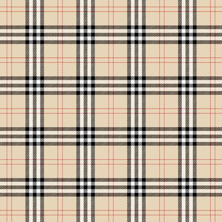 Tartan plaid. Scottish pattern in black, beige and white cage. Scottish cage. Traditional Scottish checkered background. Template for design ornament. Seamless fabric texture. Vector illustration Иллюстрация