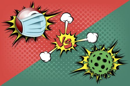 Banner billiard vs covid-19. Billiard ball with a protection mask against coronavirus sign. Cancellation of sports tournaments. The worldwide fight against the pandemic. Vector illustration