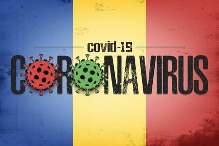 Flag of Romania with coronavirus covid-19. Virus cells coronavirus bacteriums against background of the flag of Romania. Coronavirus outbreak in Romania. Mode quarantine. Vector illustration
