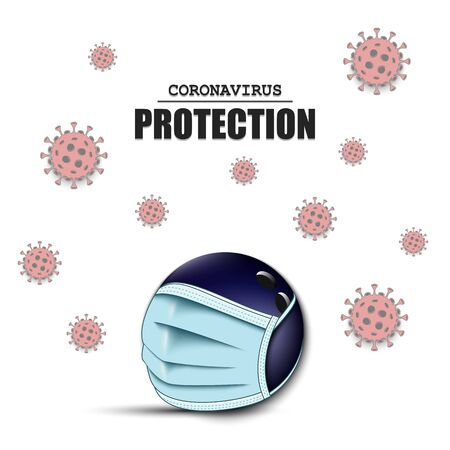Bowling ball with a protection mask and cells coronavirus bacteriums. Stop covid-19 outbreak. Caution risk disease 2019-nCoV. Cancellation of sports tournaments. Pattern design. Vector illustration