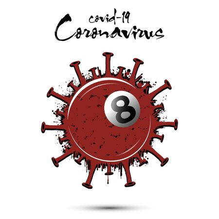 Coronavirus sign with billiard ball made of blots. Stop covid-19 outbreak. Caution risk disease 2019-nCoV. Cancellation of sports tournaments due to an outbreak of coronavirus. Vector illustration