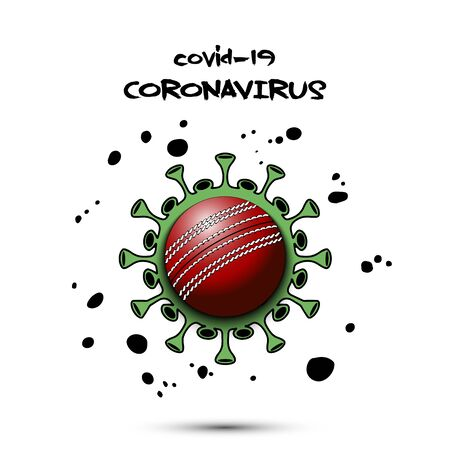Coronavirus sign with cricket ball. Stop covid-19 outbreak. Caution risk disease 2019-nCoV. Cancellation of sports tournaments. The worldwide fight against the pandemic. Vector illustration