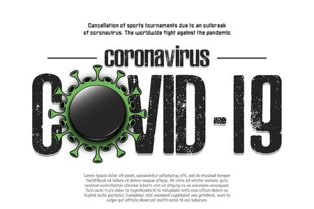 Banner Coronavirus covid-19 and virus cell sign with hockey puck. Cancellation of sports tournaments due to an outbreak of coronavirus. The worldwide fight against the pandemic. Vector illustration Stock Illustratie