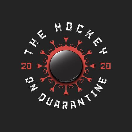 Coronavirus sign with hockey puck. Mode quarantine. Stop covid-19 outbreak. Caution risk disease 2019-nCoV. Cancellation of sports tournaments. Pattern design. Vector illustration