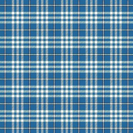 Tartan plaid. Scottish pattern in black, blue and white cage. Scottish cage. Traditional Scottish checkered background. Seamless fabric texture. Vector illustration Banque d'images - 150093418