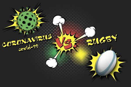 Banner rugby against coronavirus. Rugby ball vs covid-19. Cancellation of sports tournaments due to an outbreak of coronavirus. The worldwide fight against the pandemic. Vector illustration Stock Illustratie