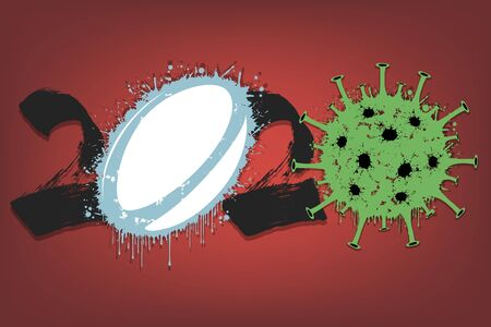 Abstract numbers 2020 and coronavirus sign with rugby ball made of blots. Stop covid-19 outbreak. Caution risk disease 2019-nCoV. Cancellation of sports tournaments. Vector illustration Stock Illustratie