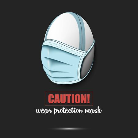 Rugby ball with a protection mask. Caution! wear protection mask. Stop coronavirus covid-19 outbreak. Risk disease. Cancellation of sports tournaments. Pattern design. Vector illustration Vector Illustratie