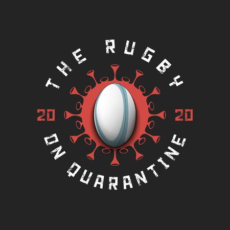 Coronavirus sign with rugby ball. Mode quarantine. Stop covid-19 outbreak. Caution risk disease 2019-nCoV. Cancellation of sports tournaments. Pattern design. Vector illustration Stock Illustratie